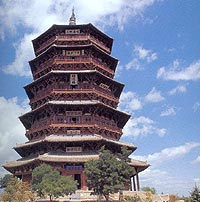 Wooden Pagoda In Yingxian County Of Shanxi Province