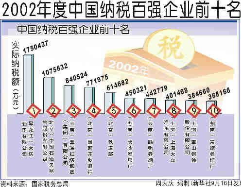 2019中国纳税排行榜_2002年度中国七十二行业纳税十强排行榜 2